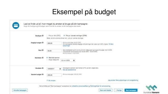 Eksempel på budget