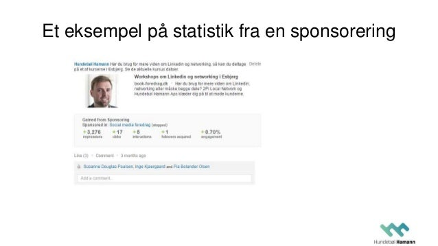 Et eksempel på statistik fra en sponsorering