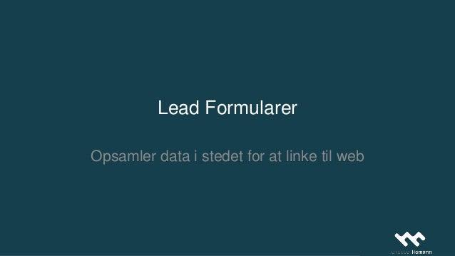 Lead Formularer Opsamler data i stedet for at linke til web