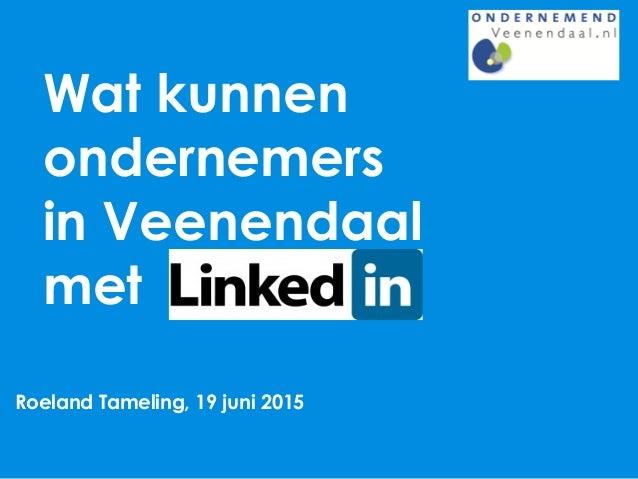 Wat kunnen ondernemers in Veenendaal met Roeland Tameling, 19 juni 2015