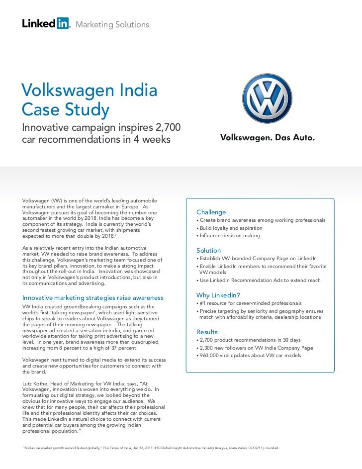 Marketing SolutionsVolkswagen IndiaCase StudyInnovative campaign inspires 2,700car recommendations in 4 weeksVolkswagen (V...