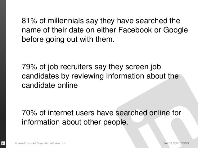 SALES SOLUTIONS 81% of millennials say they have searched the name of their date on either Facebook or Google before going...