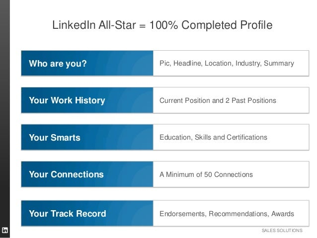 SALES SOLUTIONS Pic, Headline, Location, Industry, SummaryWho are you? Current Position and 2 Past PositionsYour Work Hist...