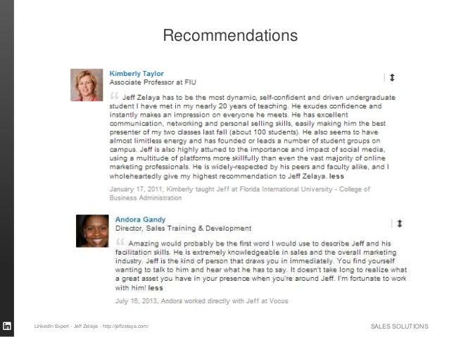 SALES SOLUTIONS Recommendations LinkedIn Expert - Jeff Zelaya - http://jeffzelaya.com/