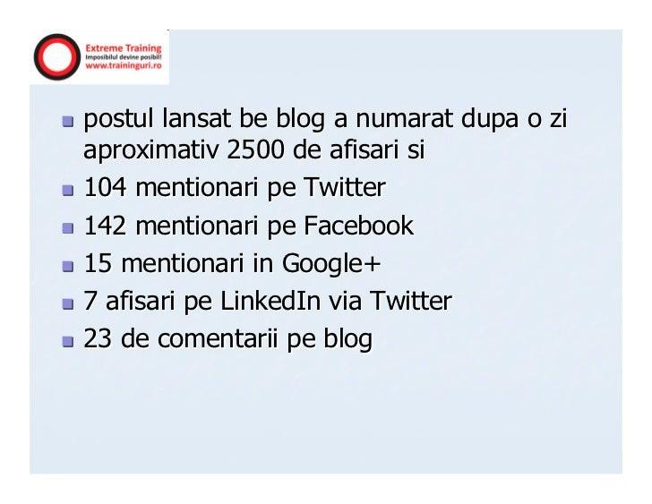 postul lansat be blog a numarat dupa o ziaproximativ 2500 de afisari si104 mentionari pe Twitter142 mentionari pe Facebook...