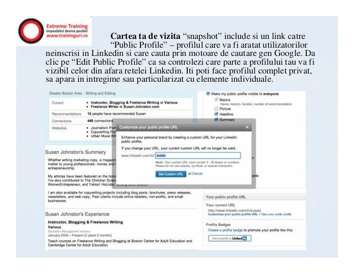 """Cartea ta de vizita """"snapshot"""" include si un link catre                    """"Public Profile"""" – profilul care va fi aratat u..."""