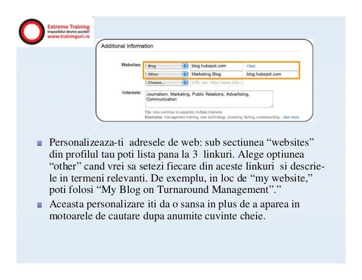 """Personalizeaza-ti adresele de web: sub sectiunea """"websites""""din profilul tau poti lista pana la 3 linkuri. Alege optiunea""""o..."""