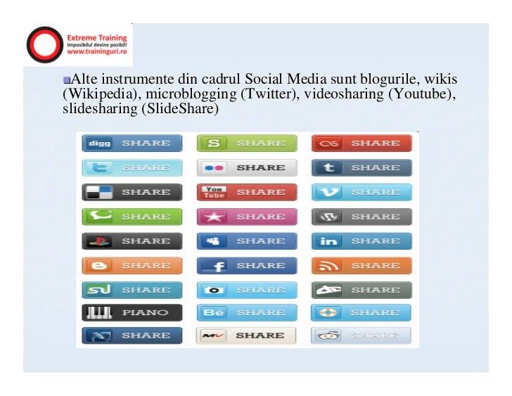 Alte instrumente din cadrul Social Media sunt blogurile, wikis(Wikipedia), microblogging (Twitter), videosharing (Youtube)...