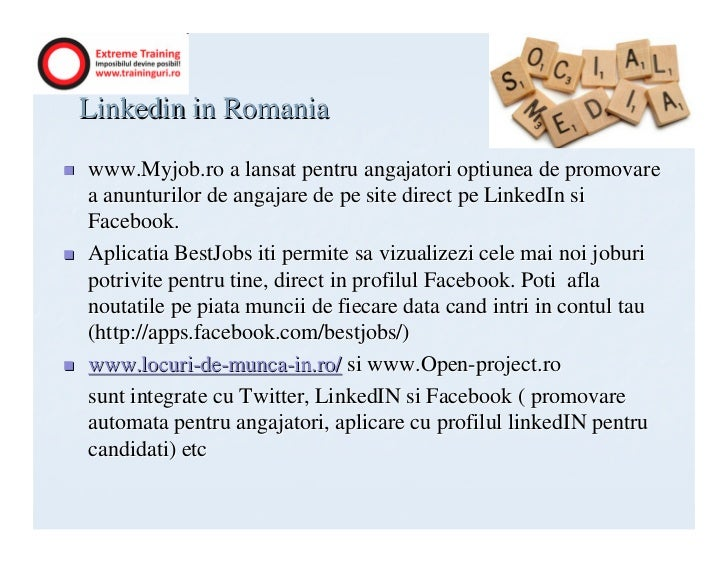 Linkedin in Romaniawww.Myjob.ro a lansat pentru angajatori optiunea de promovarea anunturilor de angajare de pe site direc...