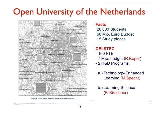 Facts20.000 Students60 Mio. Euro Budget15 Study placesCELSTEC- 100 FTE- 7 Mio. budget (R.Koper)- 2 R&D Programs: a.) Tech...