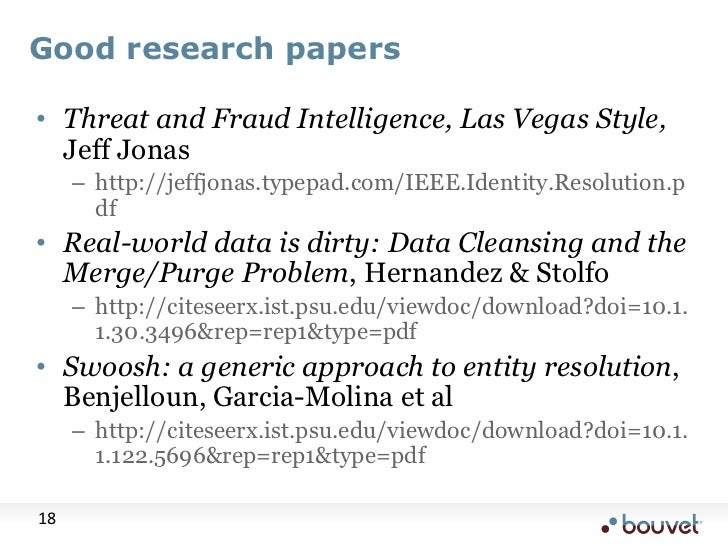 Good research papers<br />Threat and Fraud Intelligence, Las Vegas Style, Jeff Jonas<br />http://jeffjonas.typepad.com/IEE...