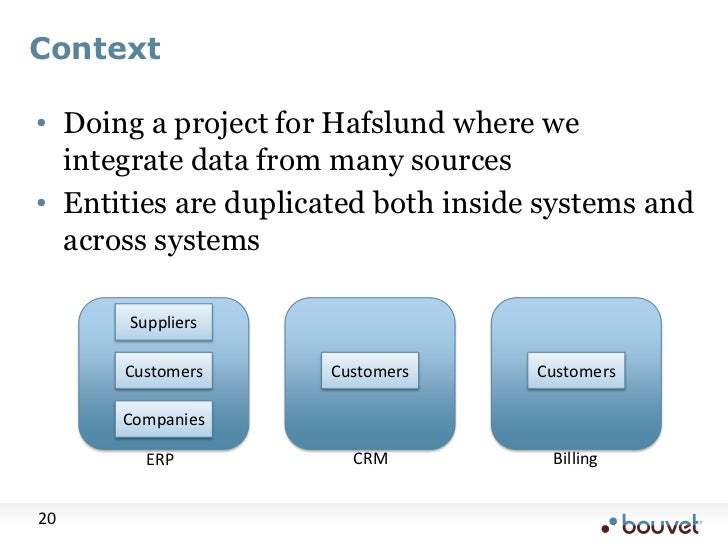 Context<br />Doing a project for Hafslund where we integrate data from many sources<br />Entities are duplicated both insi...