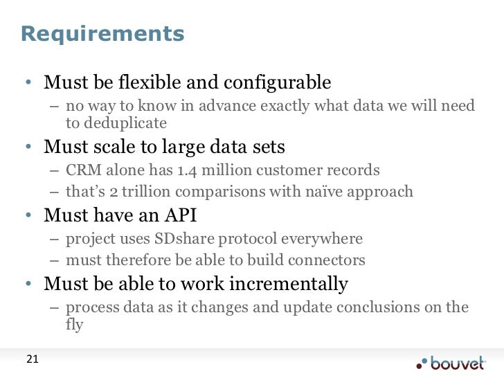 Requirements<br />Must be flexible and configurable<br />no way to know in advance exactly what data we will need to dedup...