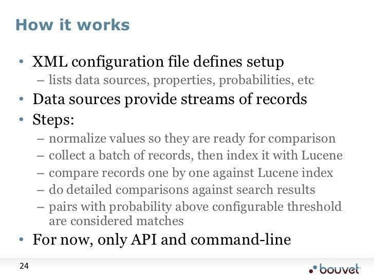 How it works<br />XML configuration file defines setup<br />lists data sources, properties, probabilities, etc<br />Data s...