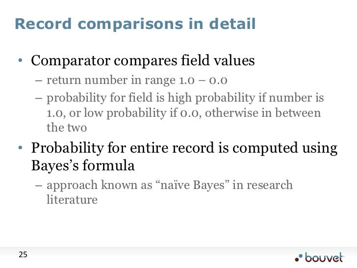 Record comparisons in detail<br />Comparator compares field values<br />return number in range 1.0 – 0.0<br />probability ...