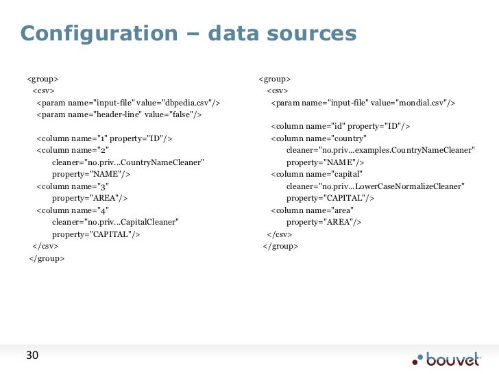 """Configuration – data sources<br /> <group><br />    <csv><br />      <param name=""""input-file"""" value=""""dbpedia.csv""""/><br /> ..."""