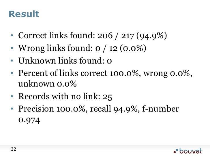 Result<br />Correct links found: 206 / 217 (94.9%)<br />Wrong links found: 0 / 12 (0.0%)<br />Unknown links found: 0<br />...