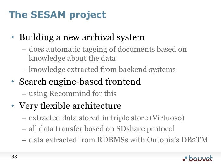 The SESAM project<br />Building a new archival system<br />does automatic tagging of documents based on knowledge about th...