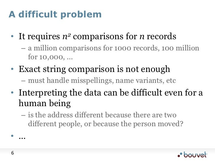 A difficult problem<br />It requires n2 comparisons for n records<br />a million comparisons for 1000 records, 100 million...