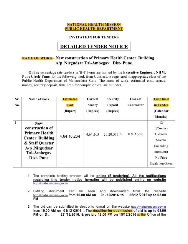 Tender notice sample national health mission public health department invitation for tenders detailed tender notice name of work stopboris Image collections