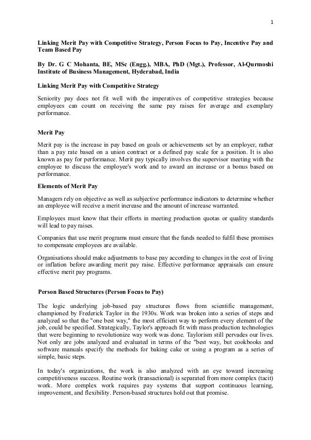 1 Linking Merit Pay with Competitive Strategy, Person Focus to Pay, Incentive Pay and Team Based Pay By Dr. G C Mohanta, B...