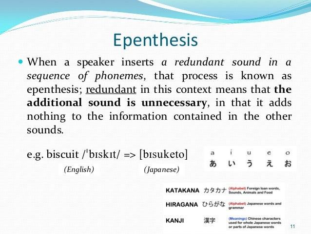 epenthesis japanese english