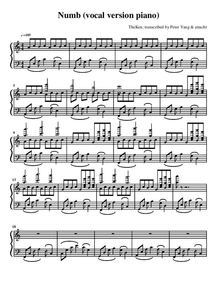 Numb (vocal version piano)                              TheKen; transcribed by Peter Yang & atracht     =105591318