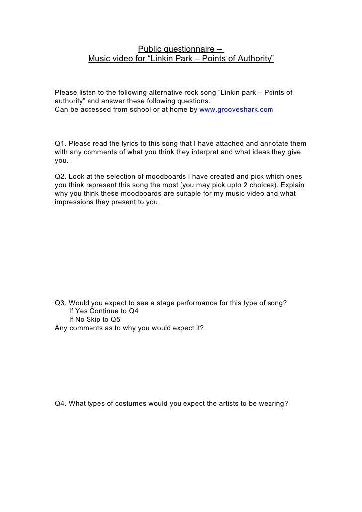 Linkin park questionnaire