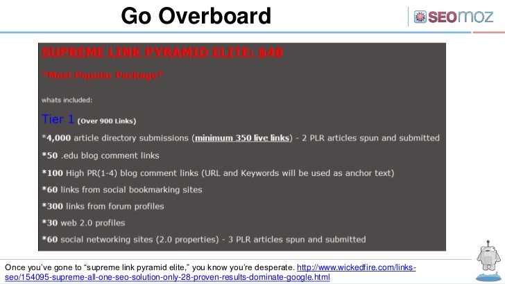 """Go OverboardOnce you've gone to """"supreme link pyramid elite,"""" you know you're desperate. http://www.wickedfire.com/links-s..."""