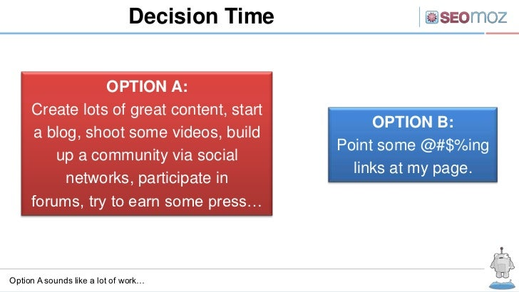 Decision Time                OPTION A:     Create lots of great content, start                                            ...