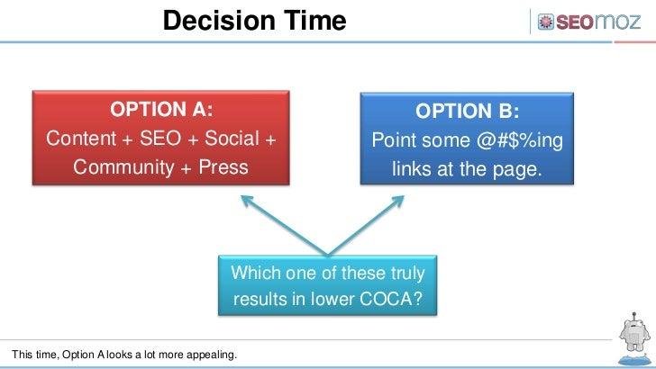 Decision Time             OPTION A:                                             OPTION B:       Content + SEO + Social +  ...