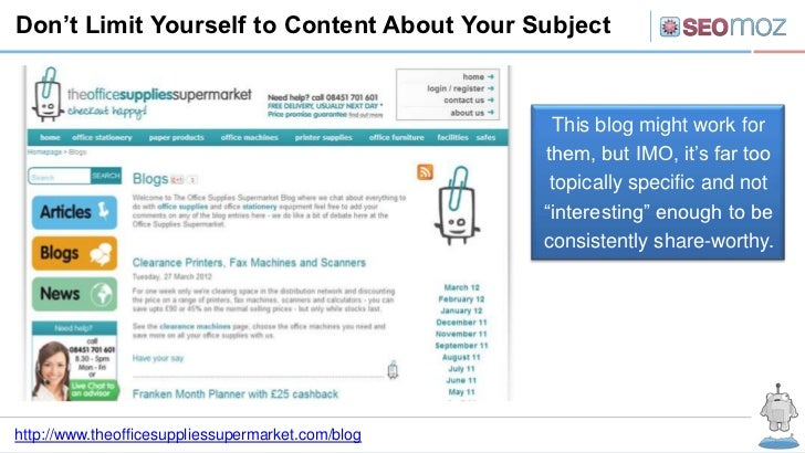 Don't Limit Yourself to Content About Your Subject                                                    This blog might work...