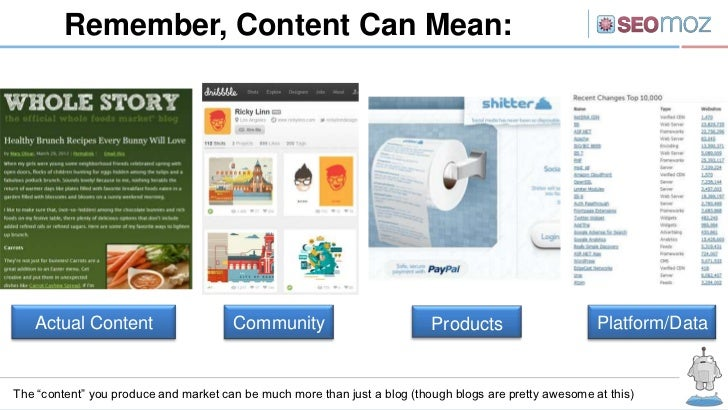 Remember, Content Can Mean:   Actual Content                      Community                           Products            ...