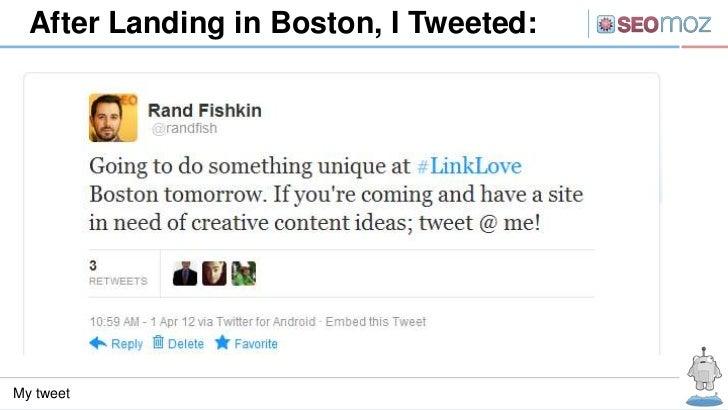After Landing in Boston, I Tweeted:My tweet
