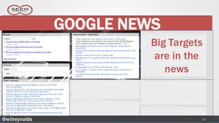 GOOGLE NEWS                         Big Targets                          are in the                            news@wilrey...