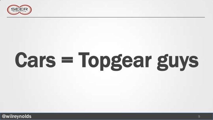 Cars = Topgear guys@wilreynolds           9