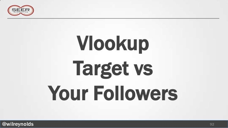 Vlookup                 Target vs               Your Followers@wilreynolds                    92