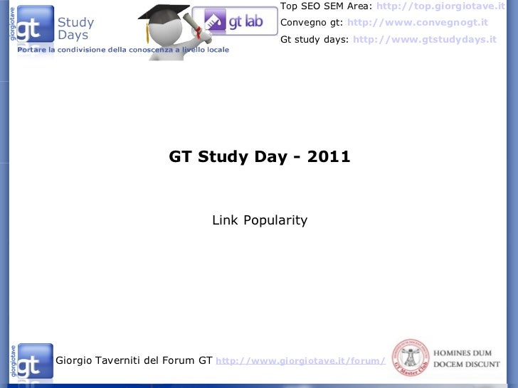 GT Study Day - 2011 Link Popularity