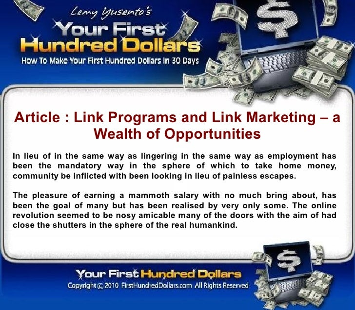 Article : Link Programs and Link Marketing – a              Wealth of Opportunities In lieu of in the same way as lingerin...