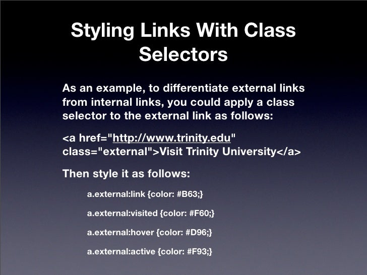 CSS - Styling Links and Creating Navigation