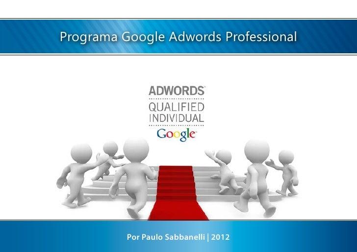 Programa Google Adwords Professional          Por Paulo Sabbanelli | 2012