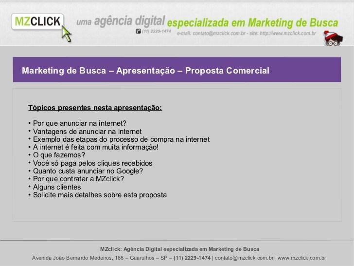 Marketing de Busca – Apresentação – Proposta Comercial Tópicos presentes nesta apresentação:    Por que anunciar na inter...