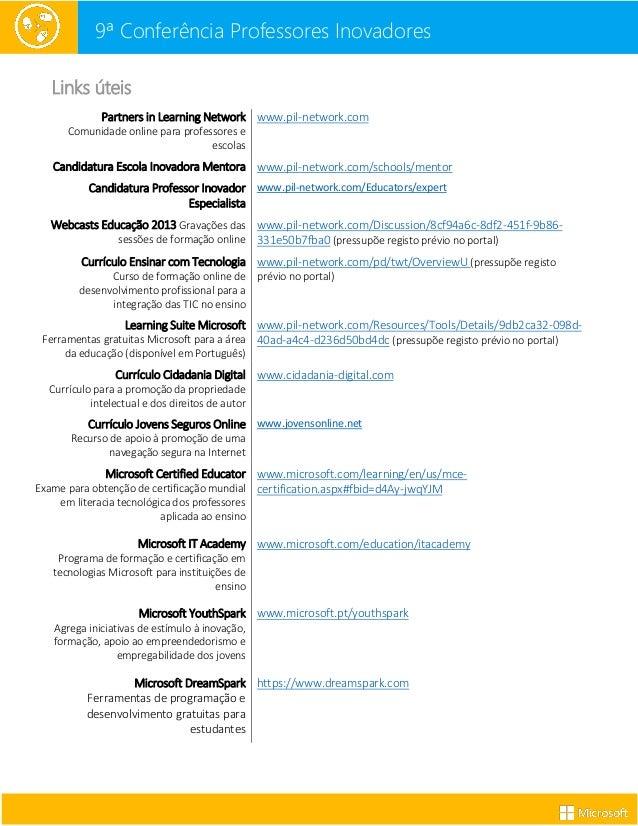 9ª Conferência Professores Inovadores Links úteis Partners in Learning Network Comunidade online para professores e escola...
