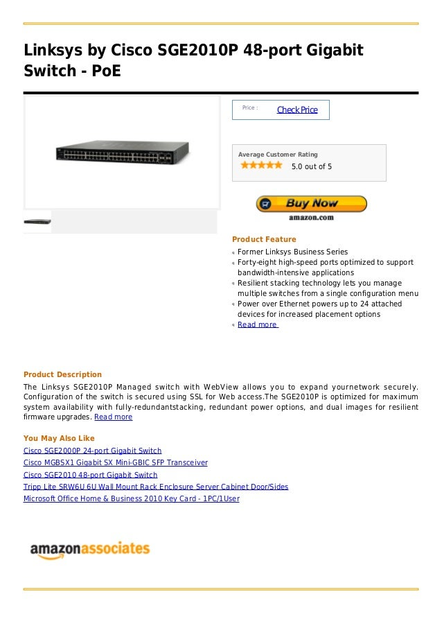 Linksys by Cisco SGE2010P 48-port GigabitSwitch - PoE                                                             Price : ...