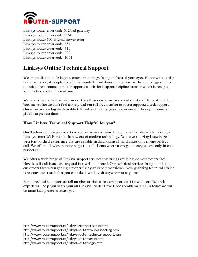 Linksys router error_codes