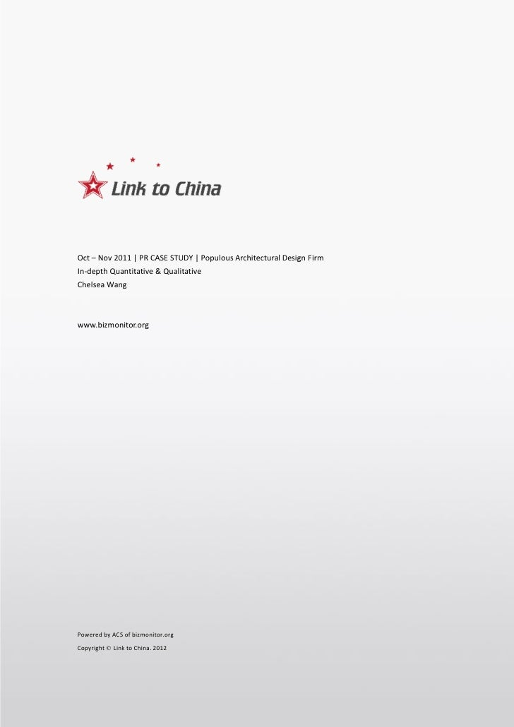 Link to China Cases Sharing       Global Famous Architectural Design Firm Populous 2011Oct-NovOct – Nov 2011 | PR CASE STU...