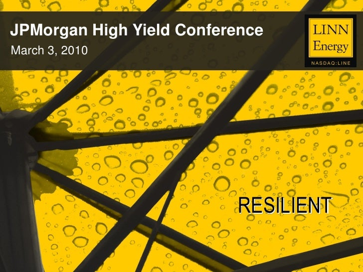 JPMorgan High Yield Conference March 3, 2010                               RESILIENT