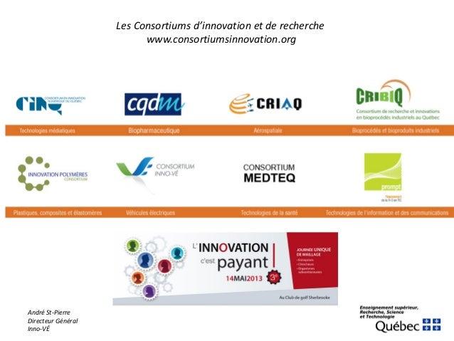 André St-PierreDirecteur GénéralInno-VÉLes Consortiums d'innovation et de recherchewww.consortiumsinnovation.org
