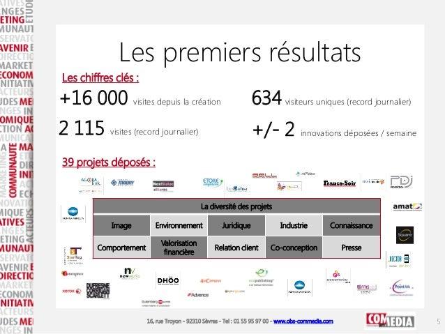 16, rue Troyon - 92310 Sèvres - Tel : 01 55 95 97 00 - www.obs-commedia.com Les premiers résultats 39 projets déposés : Le...
