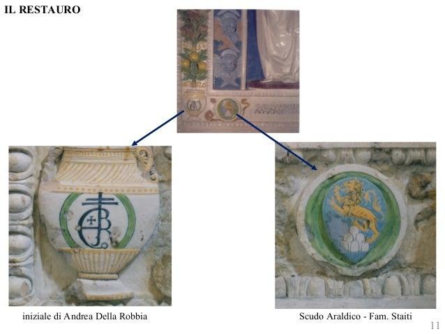 IL RESTAURO  iniziale di Andrea Della Robbia Scudo Araldico - Fam. Staiti  11